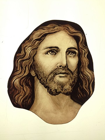 Head of Jesus (classical style) - glass painting