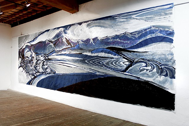 'ELYSEUM PASS'  This mural was executed for an exhibit at a gallery in San Francisco. The medium is acrylic on synthetic paper, and measures 10 ft. tall by 25 ft. long. The title refers to the 'Elyseum' an ancient word for the heavens or cosmos. The 'pass