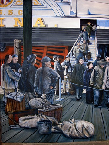 hand painted and designed mural 'The Arrival of Chinese Immigrants into San Francisco,1890) for National Park Service, San Francisco Maritime National Historic Park,  Visitor Center II, San Francisco CA