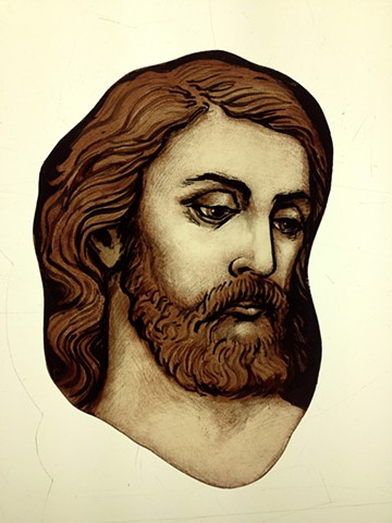 Head of an Apostle - glass painting