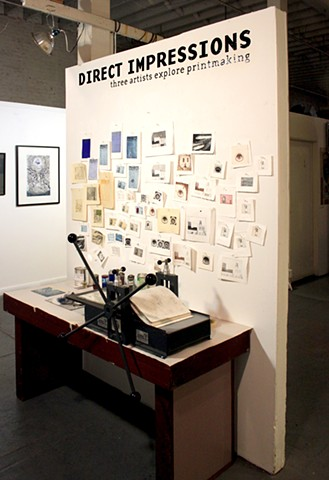 'Direct Impressions:  3 Artists Explore Printmaking'  exhibition,  3-Artist exhibit (Justyn Zolli, Julian Lallemand, Russell Pachman)  Live Arts Gallery, San Francisco