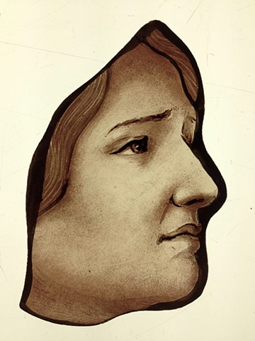 face of a grieving mother - glass painting