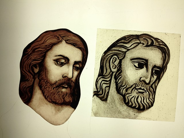 Head of Jesus (two styles Classical and Gothic/Byzantine) - glass painting
