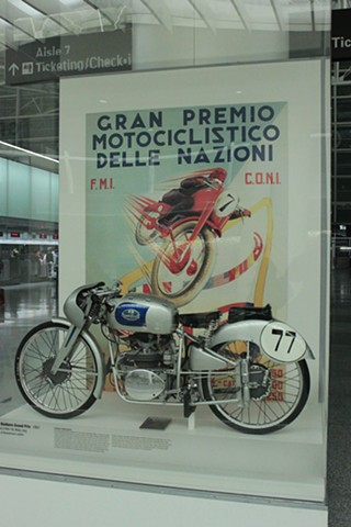 Italian motorcycles exhibit,  SFO Museum, San francisco CA mountmaking, installations, fabrication