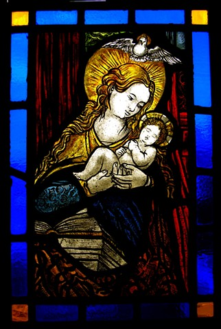 Madonna and Christ Child glass panel (after a 14th century design)