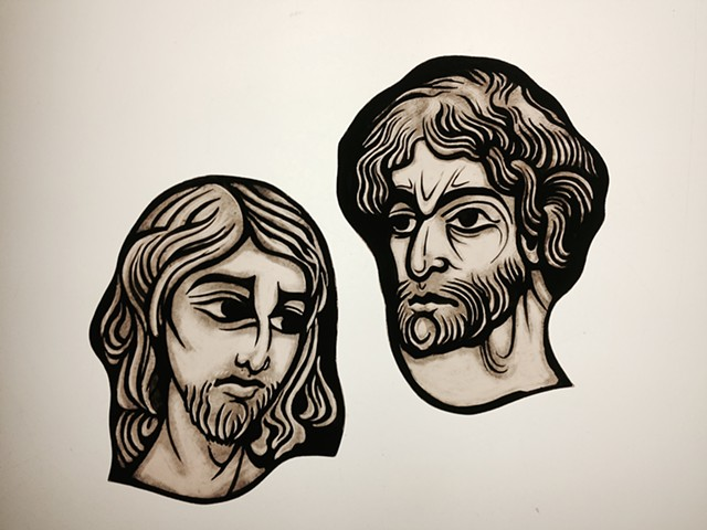 Heads of Jesus Christ and St. John the Baptist (Gothic style) -glass painting
