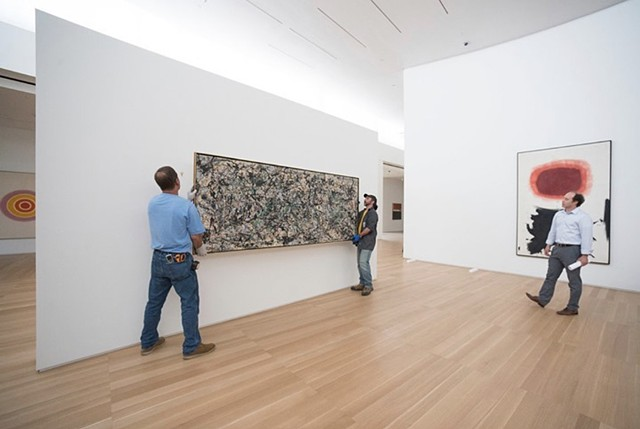 Installing a priceless Work by Jackson Pollock, Anderson Collection at Stanford University