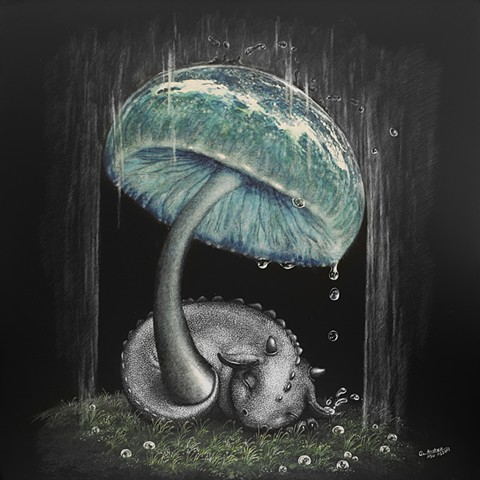 dragon art, baby dragon, mushroom art, dragons in the rain