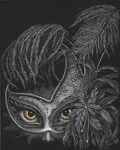 warrior scratchboard faerie masquerade mask feather mask