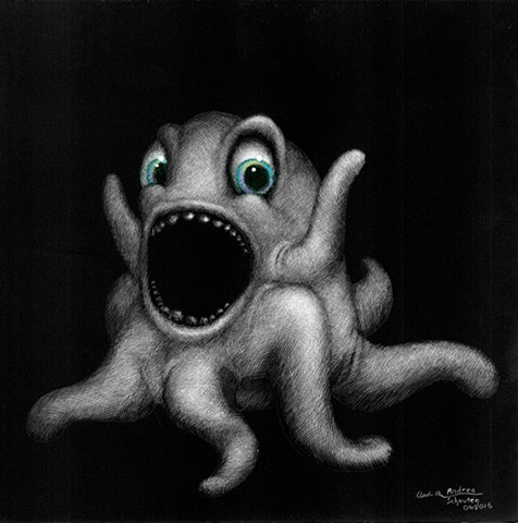 funny creatures, figments of imagination, imaginary creatures, funny squid, octopus, funny monster