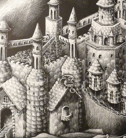 fantasy floating castle bubble stairs black and white scratchboard