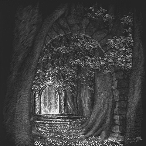 Enchanted forest, mystical gateway, pathway