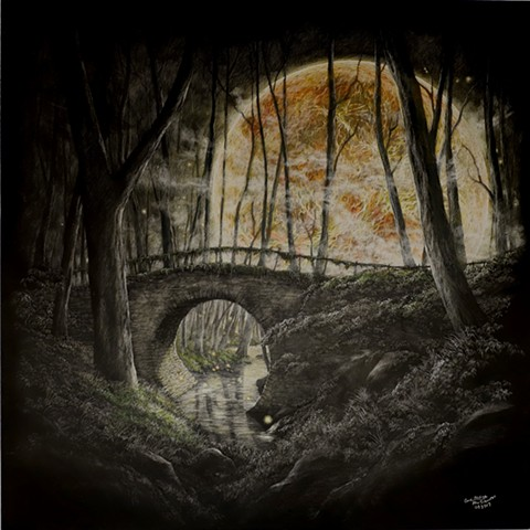 Venus art, galaxy, fantasy art, dark fantasy, half moon bridge