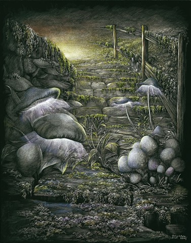 Enchanted forest mushrooms path pathways dreamlike art