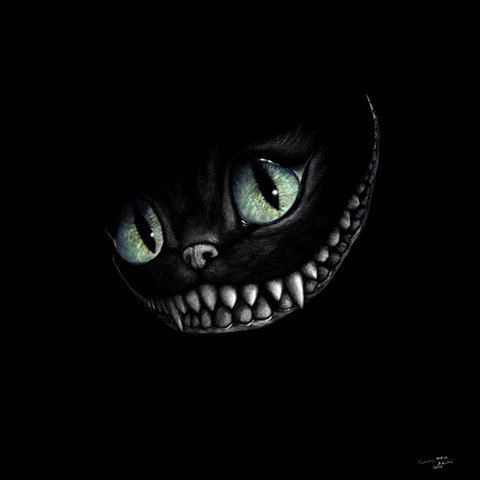 Cheshire Cat, smiling cat, mysterious cat, pop art, alice in wonderland art