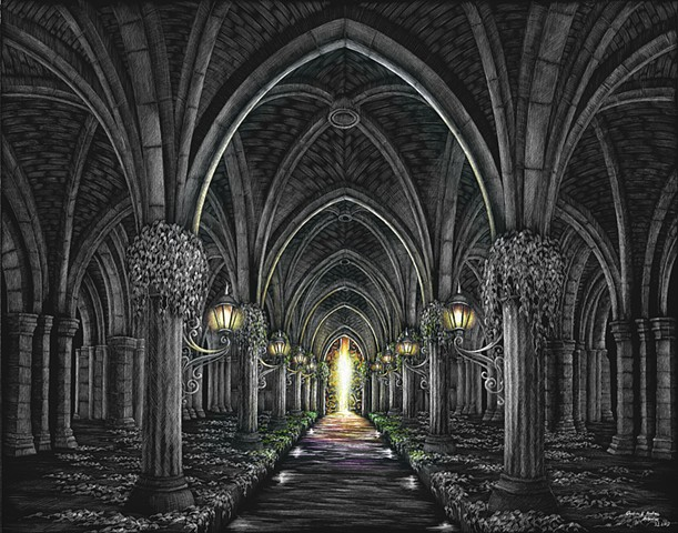 Underground river Gothic architecture Glasgow Cloisters forest faith Christian