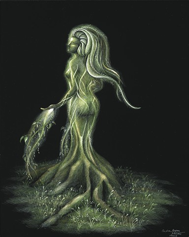 mother earth earth faerie fairy nature sprite girl morphing into tree
