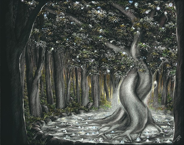 Enchanted Forest, Intertwined trees, interlocked trees, pair of trees, fairy art
