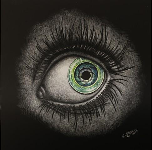 mechanical eye, steampunk art, steampunk eye drawing, iris eye