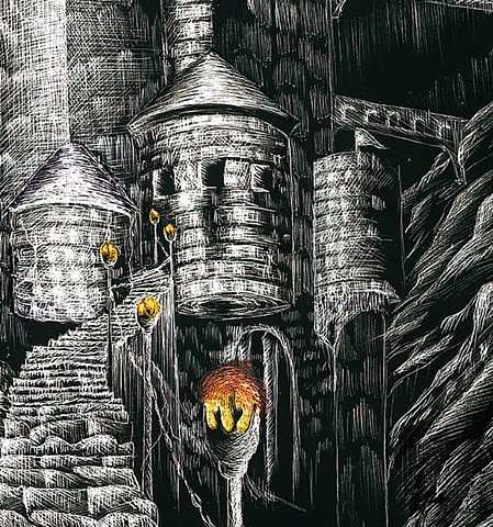 fantasy castle scratchboard black and white