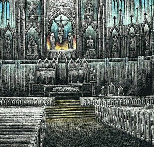 Notre Dame Basilica Gothic Church Scratchboard Catholic Church