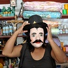 Jesus Malverde mask, near Oaxaca, Mexico.