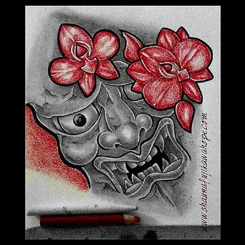All Rights Reserved By Shauna Fujikawa Hope Tattoos & Art - Red Orchid with Hanna Mask