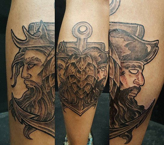 All Rights Reserved By Shauna Fujikawa Hope Tattoos & Art - Shellback with Davey Jones and Poseidon