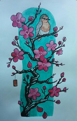 All Rights Reserved By Shauna Fujikawa Hope Tattoos & Art - Cherry Blossoms and Bird