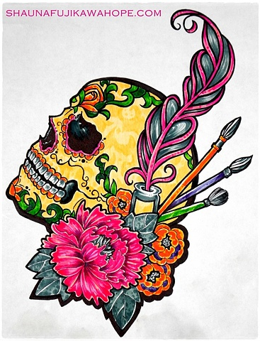 All Rights Reserved By Shauna Fujikawa Hope Tattoos & Art - Skull Flower Feather