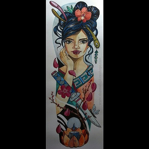 All Rights Reserved By Shauna Fujikawa Hope Tattoos and Art - Geisha