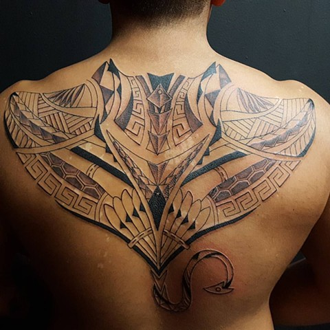 All Rights Reserved By Shauna Fujikawa Hope Tattoos & Art - Tribal Manta Ray