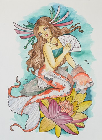 All Rights Reserved By Shauna Fujikawa Hope Tattoos & Art - Japanese Koi Mermaid
