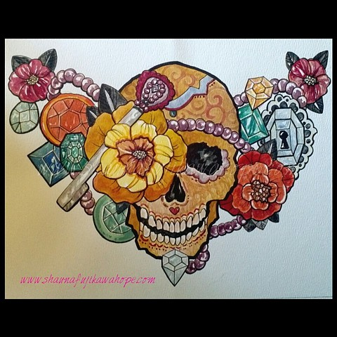 All Rights Reserved By Shauna Fujikawa Hope Tattoos & Art - Skull with Pirate Jewels