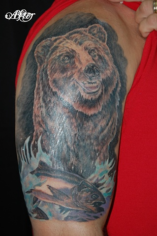 All Rights Reserved By Shauna Fujikawa Hope Tattoos & Art - Bear and Salmon