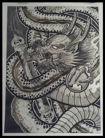 All Rights Reserved By Shauna Fujikawa Hope Tattoos & Art - Black Water Dragon