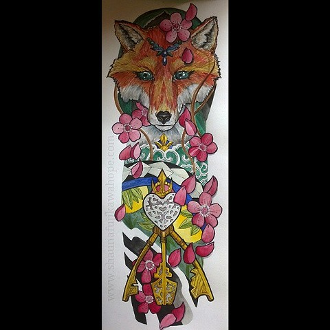 All Rights Reserved By Shauna Fujikawa Hope Tattoos and Art  - Kitsune Fox Keys