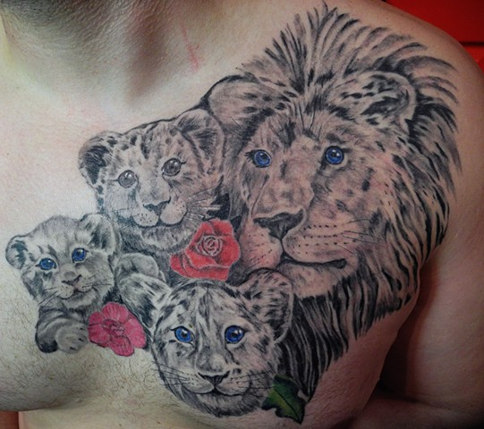 All Rights Reserved By Shauna Fujikawa Hope Tattoos & Art - Lion Family Pride
