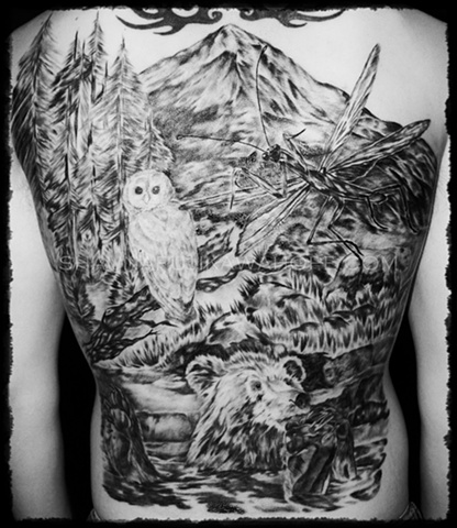 All Rights Reserved By Shauna Fujikawa Hope Tattoos & Art - Owl and Bear