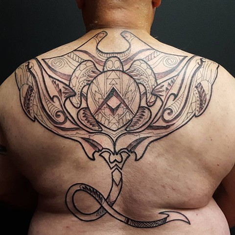 All Rights Reserved By Shauna Fujikawa Hope Tattoos & Art - Tribal Manta Ray Dolphins Turtle