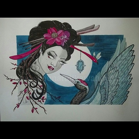 All Rights Reserved By Shauna Fujikawa Hope Tattoos and Art - A Thousand Cranes with Geisha