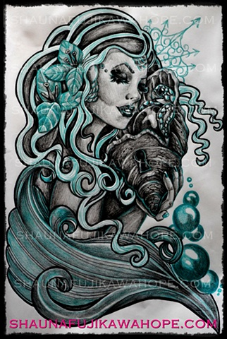 All Rights Reserved By Shauna Fujikawa Hope Tattoos & Art - Tropical Teal mermaid