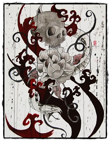 All Rights Reserved By Shauna Fujikawa Hope Tattoos & Art - Snake, Peony, and Skull
