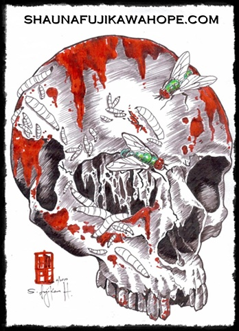 All Rights Reserved By Shauna Fujikawa Hope Tattoos & Art - Skull with Flies for Forensic Project