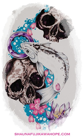 All Rights Reserved By Shauna Fujikawa Hope Tattoos & Art - Skull Koi