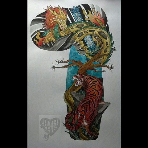 All Rights Reserved By Shauna Fujikawa Hope Tattoos and Art  - Tiger and Golden Dragon