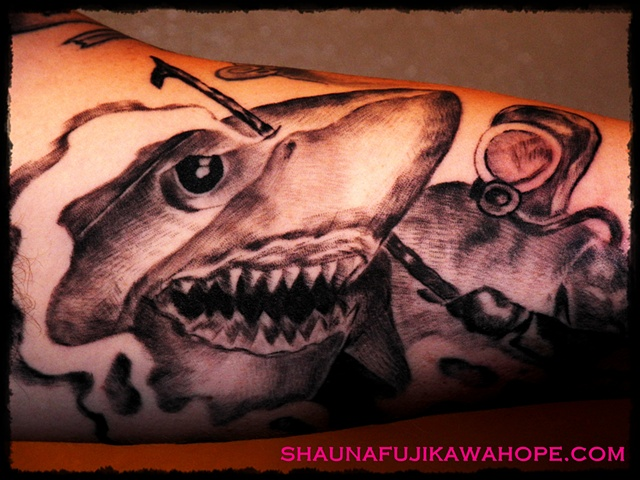 All Rights Reserved By Shauna Fujikawa Hope Tattoos & Art - Shark Diver