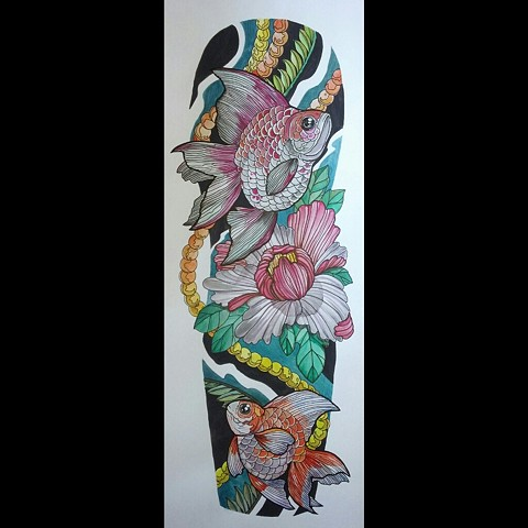 All Rights Reserved By Shauna Fujikawa Hope Tattoos and Art  - Ryukin Goldfish