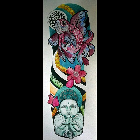 All Rights Reserved By Shauna Fujikawa Hope Tattoos and Art  - Ryukin Goldfish Buddha