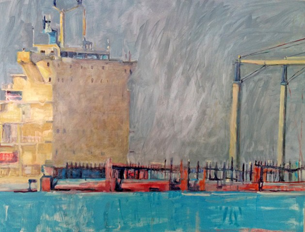 tanker painting, freighter paiinting, painting of ship